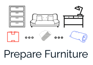2. Using plastic wrap, cardboard and/or blankets, prepare and protect furniture for transport